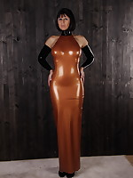 Big ass beauty Desyra Noir in a bronze dress | DesyraNoir.com